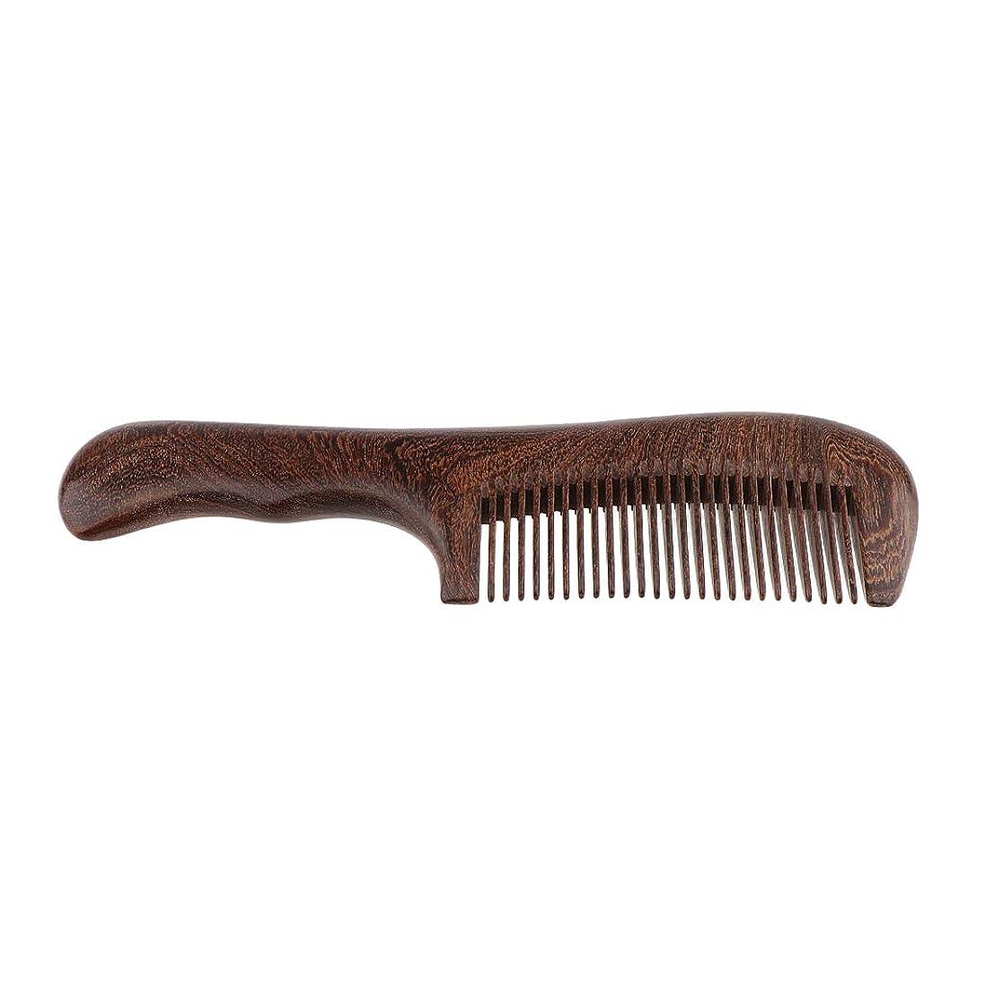 混合検証スイス人SM SunniMix 木製櫛 手作り ヘアブラシ ウッドコーム ハンドヘルド マッサージブラシ 2仕様選べ - 細かい歯
