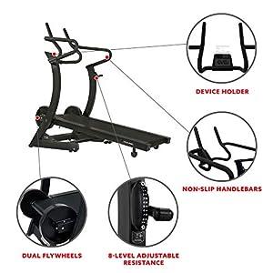 Sunny Health & Fitness 7700 Asuna High Performance Cardio Trainer, Manual Portable Treadmill with Heavy Duty Designed Dual Flywheels, Brown/A