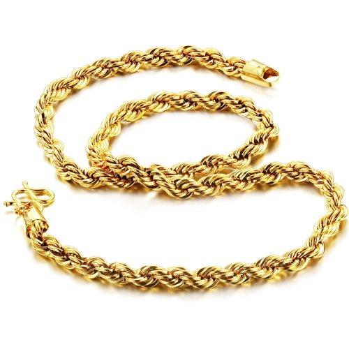 18K chapado en oro twrist cuerda cadena collar oro tono Hip Hop para hombre Joyería