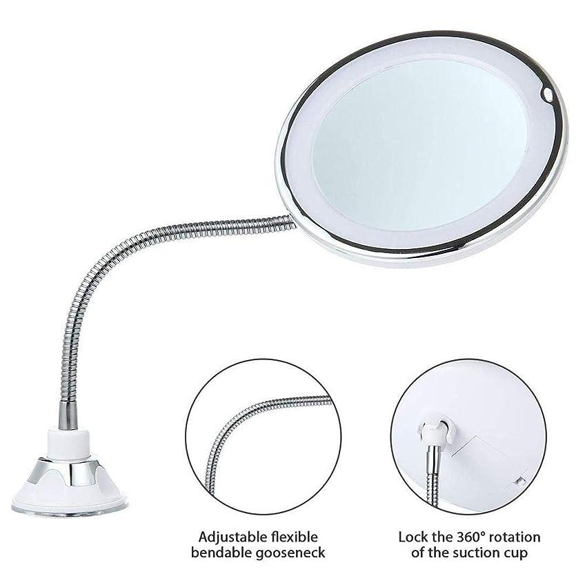 プライム記念日晴れLED照明付き化粧鏡バスルームミラーLED化粧鏡10×拡大照明浴室ポータブルコードレスパーフェクトウォール吊り360度