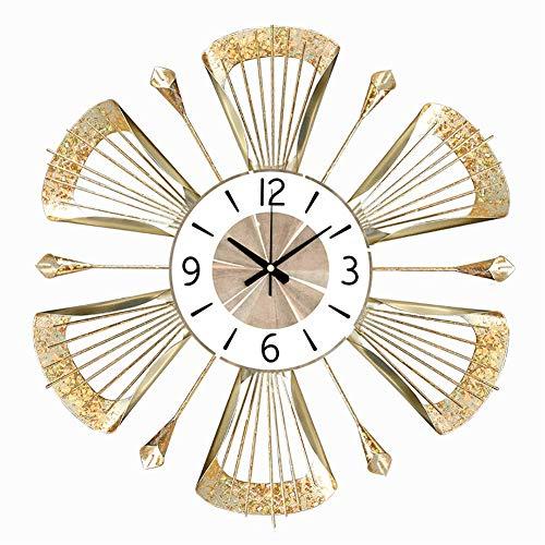 TDOYO Reloj Pared Grande, Forma de bauhinia Dorada - Moderno - Metal - Reloj de Pared para el hogar/la Cocina/la Oficina/la Escuela/Hotel, Dorado, 50 * 50 CM,A