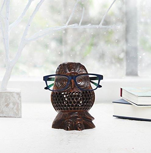 Store Indya, Brillenhalter Brillen Stand Gläser Halter mit Handgemachte hölzerne Eule Design Brillenstander Home Decor Zubehör