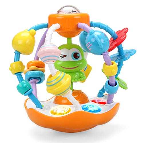 INTMEDIC Oball Grasping Multiple Sensory Activity Rattle Ball Toy for Baby with Light amp Music to Practice Fine Motor Skill Finger Flexibility as Gifts for 6 Months amp Up Baby Infant Newborn