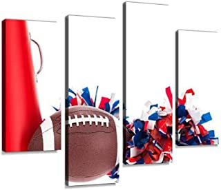 Close up College or high School Football, pom poms and Megaphone 4 Pieces Wall Art Print on Canvas Modern Photography Painting for Living Room Bedroom Wall Decor Gift Frame Ready to Hang