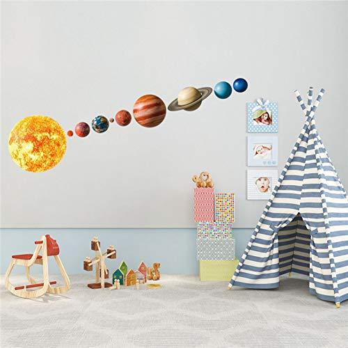 KGKBH Autocollant Mural 3D Système Solaire Autocollant Mural de Dessin Animé pour Les Chambres d'enfants Stars Univers Espace Espace Planètes Terre Soleil Saturn Mars Affiche Mural Décor D'école