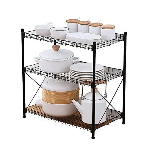 Met Love Organizador apilable debajo del gabinete del lavabo con el cajón de la cesta deslizante para la cocina y el baño cromo (Color : 3 floors)