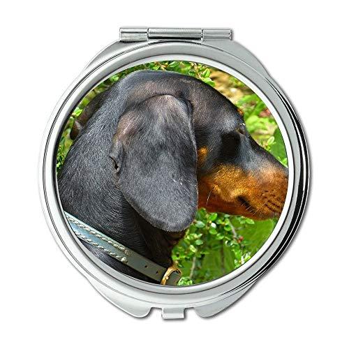 Yanteng Spiegel, Compact Spiegel, Dackel Hund Schwarz Braun Fell Tier, Taschenspiegel, Tragbare Spiegel
