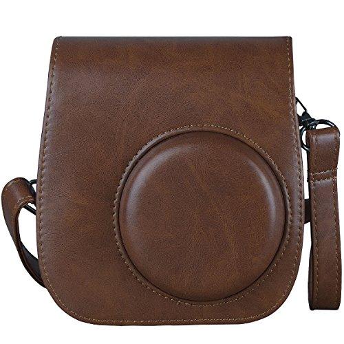 [Kamera Tasche für Fujifilm Instax Mini 8/ Mini 9] - ZWOOS Reise Kameratasche Gehäuse Taschen mit Schultergurt/Weinlese PU Leder für Fujifilm Instax Mini 8/ Mini 8S/ Mini 9 Tasche(Braun)