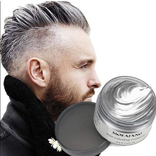 Temporary Hair Dye Wax, YHMWAX 4.23oz Instant Hairstyle Silver Hair wax, Natural Hair Coloring Wax Material Disposable Hair Styling Clays Ash for Cosplay,Party,Masquerade, Halloween.etc (Silver Grey)