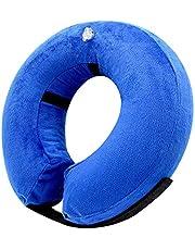AeeYui Collar Inflable de Perros Gato,Cono de Cuello isabelino Ajustable para recuperación Tras una cirugía, collarín electrónico (Blue)