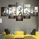 IMXBTQA Impresión En Lienzo 5 Piezas Cuadro sobre Lienzo,5 Piezas Cuadro En Lienzo,5 Piezas Lienzo Decorativo,5 Piezas Lienzo Pintura Mural,Regalo,Decoración Hogareña Orquídeas Blancas Vibrantes