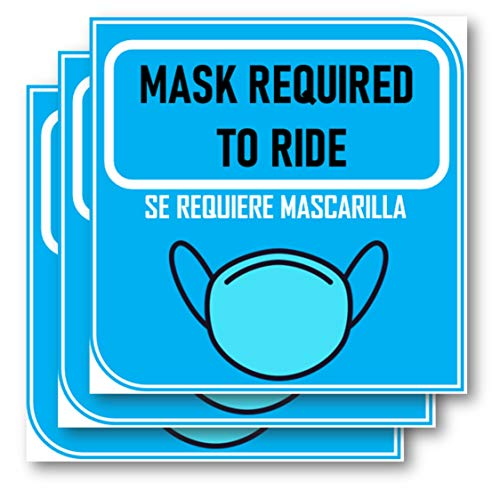 Face Mask Required Sign for car Driver Protection| Vinyl Sticker for cab Taxi. Face-Covering Required Decals- Weatherproof, UV Protected, Safety Decal for Taxi. English