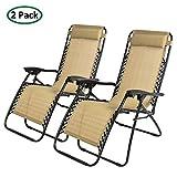 PARTYSAVING 2-Piece Infinity Zero Gravity Outdoor Lounge Patio Folding Reclining Chair, Tan