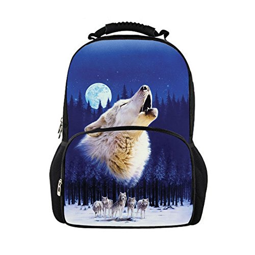 Nopersonality Wolf Backpack Adult Casual Traveling Rucksack Beautiful Moon School Bags Blue