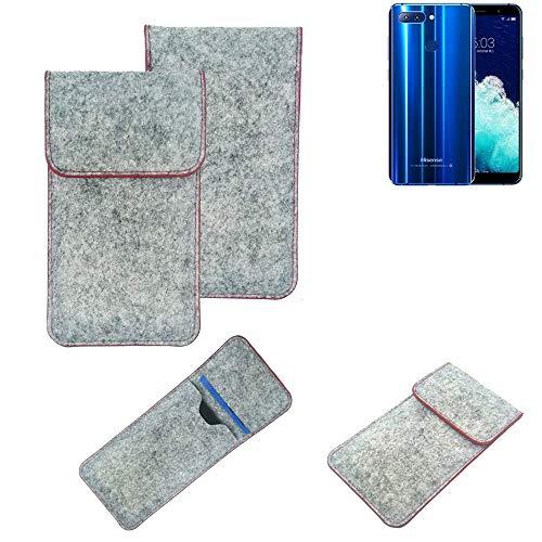 K-S-Trade Handy Schutz Hülle Für Hisense Infinity H11 Pro Schutzhülle Handyhülle Filztasche Pouch Tasche Hülle Sleeve Filzhülle Hellgrau Roter Rand