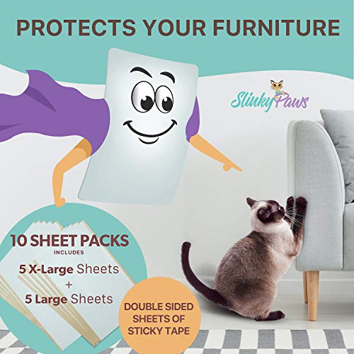 Slinky Paws Cat Scratch Furniture Protector and Scratch Deterrent Tape Will Shield Your Furniture...