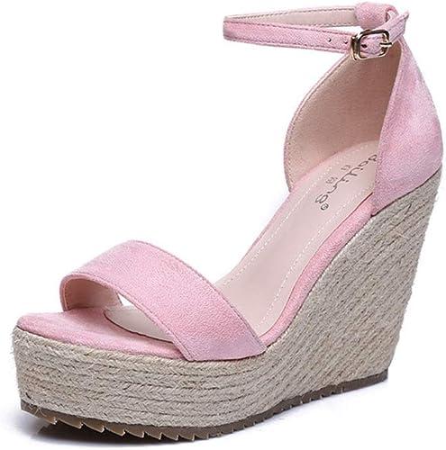 Sandales Femmes Sandales d'été Sandales compensées Mode Simples Sandales tissées Chaussures de Femmes Confortables et Confortables Talons Hauts 10 cm