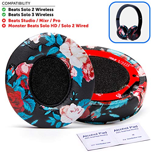 Wicked Cushions Beats Solo 2 Ear Pad Replacement - Compatible with Solo 2 & 3 Wireless On Ear Headphones (Does NOT FIT Studio) | Floral Black