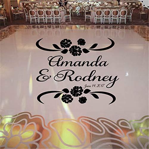 Ajcwhml Hochzeit Wandaufkleber Nelke Thema Tanzfläche Abziehbilder Hochzeitstag Schriftart Tanzfläche Name Vinyl Schriftzug - 67X83CM