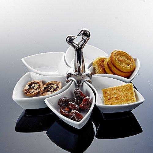 MALACASA, Serie Special.Shap, 6 teilig Snackschäle, Drehbar Dessertschäle mit Griff Porzellan Pommesschäle Vorspeise Nachtisch Snacks Chips Fingerfood Schälchen Dipschäle Servierschäle