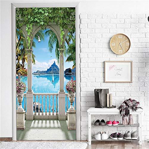 Ygccw Vinilo decorativo para puerta de baño, vinilo adhesivo 3D, para bricolaje, impermeable, creativo, para decoración del hogar, póster Dzmt049_77X200cm