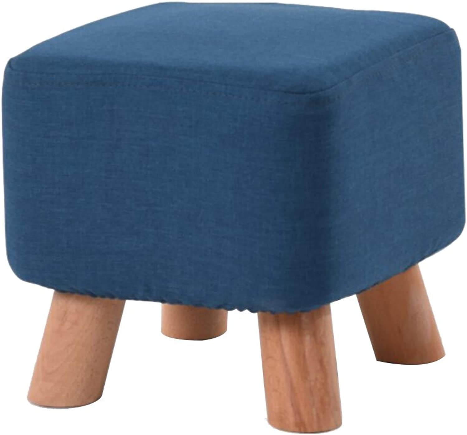 HQCC Solid Wood Stool Four Legs Simple Fabric Stool Square Stool Living Room Change shoes Bench Coffee Table Sofa Stool (color   bluee)