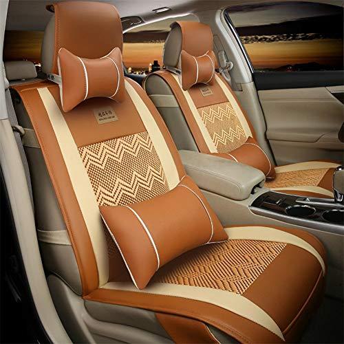 5 sièges voiture élégant pu en cuir et respirant soie artificielle patchwork avant et arrière housses de siège protecteurs pour berline SUV,Orange