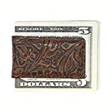 Cognac Western Genuine Leather Magnetic Money Clip – American Factory Direct - Money Holder - Made in USA by Real Leather Creations FBA489