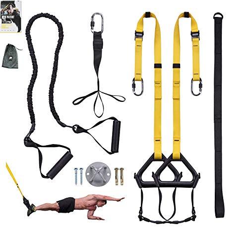 Clothink Sling Trainer Schlingentrainer bis 300 kg mit Umlenkrolle Fußschlaufen Übungsanleitung Längenverstellbar Fitness Zuhause Suspension