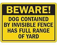 BEWARE! DOG CONTAINED FULL RANGE OF YARD 犬に注意マグネットサイン U.S.A Design