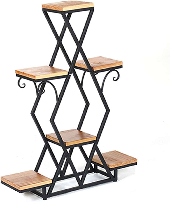 NYDZDM Wrought Iron Multi-Layer Modern Minimalist Balcony Living Room Floor-Standing Flower Pot Rack Multifunctional Wood Flower Stand