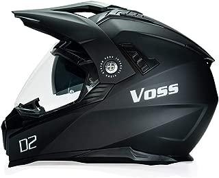 Voss 601 D2 Dual Sport Helmet with Integrated Sun Lens in Matte Black - DOT - M