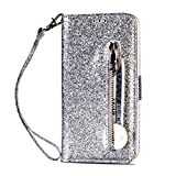 Molg Compatible con Funda iPhone 6/6S Glitter PU Cuero Flip Cremallera Billetera Case [Muñequera] [Ranura para Tarjetas] [Cierre Magnético] Anti-Shock Caso-Plata