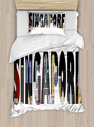 Super Soft 3D Copripiumino Stampato Set copripiumino e federe per letto super morbido Paziente con scritte sullo skyline della città di Singapore Copripiumino singolo: incluso copripiumino matrim