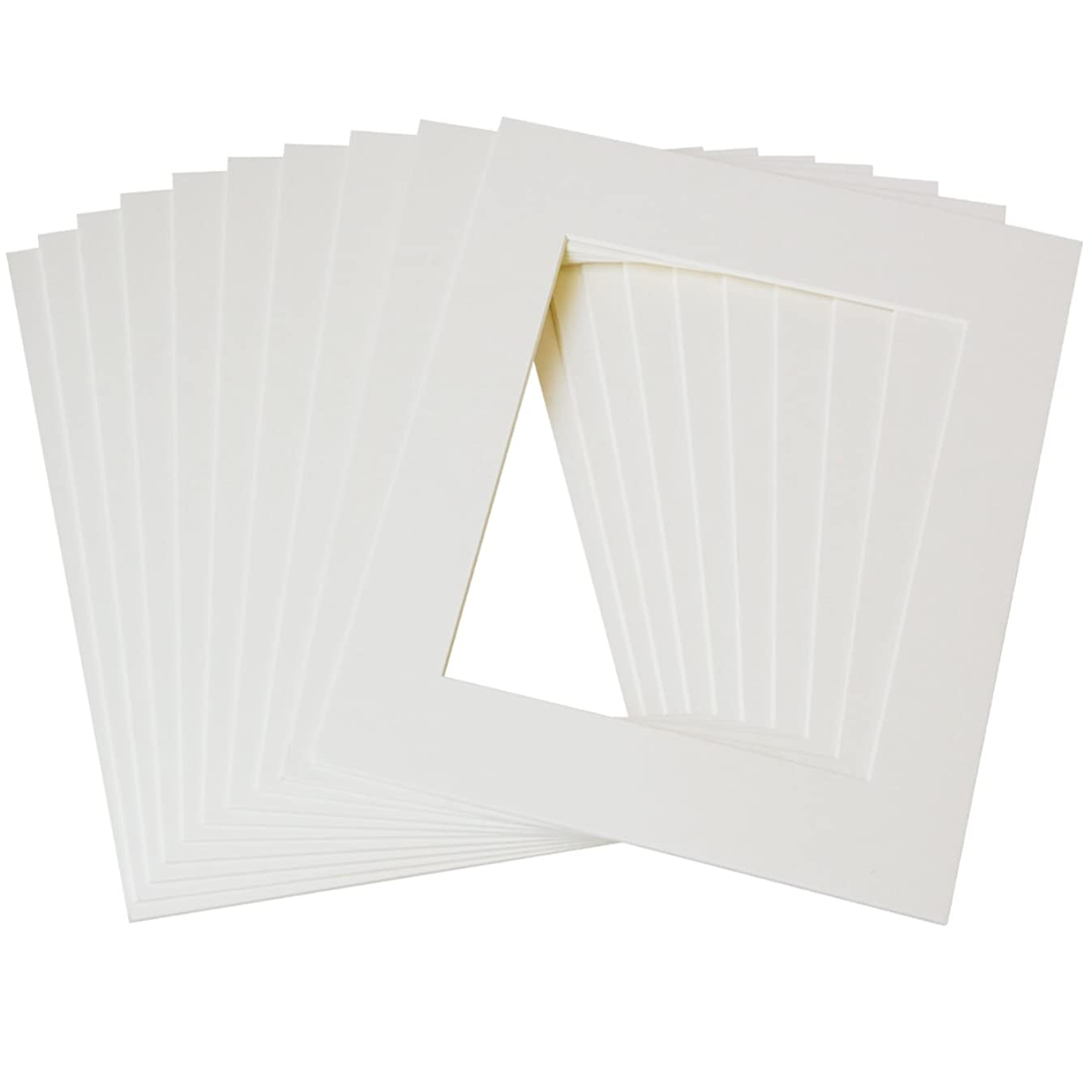 Betus 11x14 Cream White Picture Mats, White Core Bevel Cut for 8x10 Pictures - Pack of 10