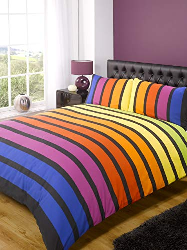 Soho Multi Stripe Duvet Cover Quilt Bedding Set, Yellow Blue Purple, King Size - Bedroom Bed Linen