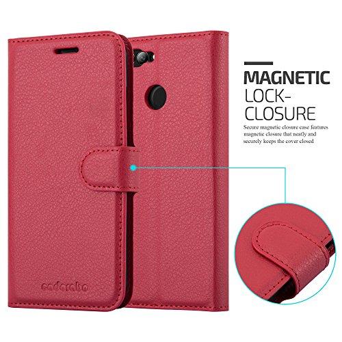 Cadorabo Hülle für Huawei NOVA 2 - Hülle in Karmin ROT – Handyhülle mit Kartenfach und Standfunktion - Case Cover Schutzhülle Etui Tasche Book Klapp Style - 5