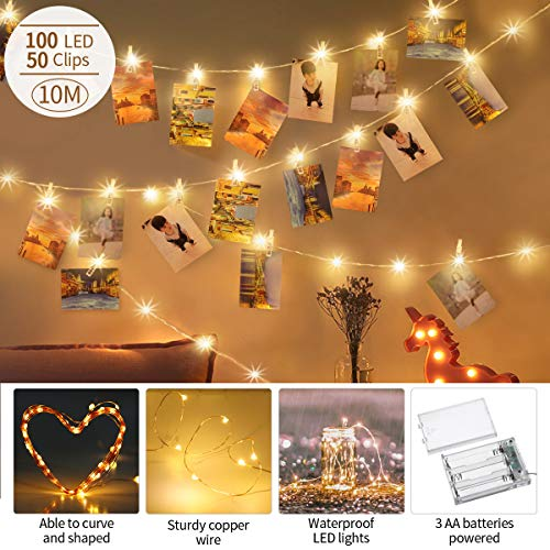 king do way String Lights 100LED Fairy Lights with 50 Photo Clips 33FT Warm White Waterproof Copper Wire Light for Indoor Outdoor Wall Decoration