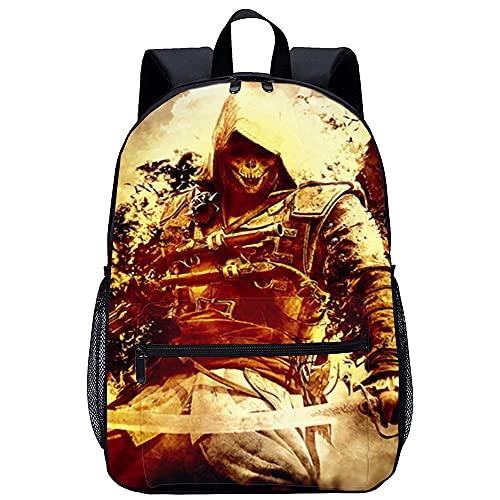 KKASD Sac à dos imprimé en 3D Assassins Creed 4 17 pouces Convient aux sacs décole de voyage et de sports de plein air