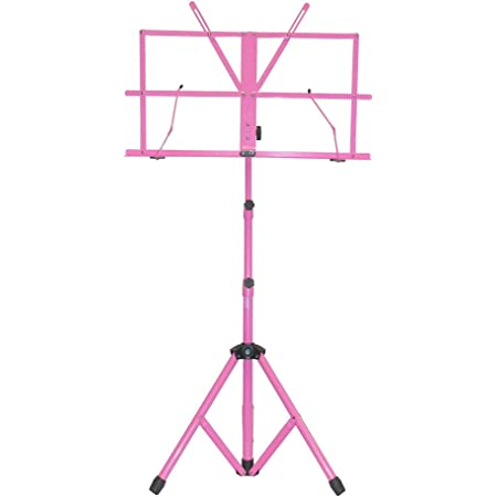 SKY Brand New Lightweight Adjustable Folding Music Stand with Carrying Bag-Pink