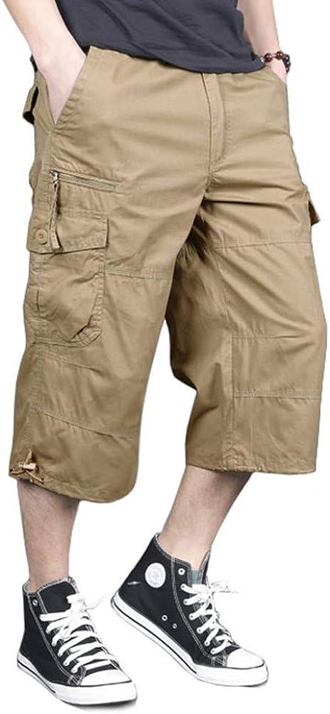 MAGNIVIT Men's Capri Long Cargo Shorts Casual Twill Elastic Below Knee Shorts Loose Fit Multi-Pocket