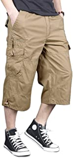 Men's Capri Long Cargo Shorts Casual Twill Elastic Below Knee Shorts Loose Fit Multi-Pocket