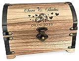 FORYOU24 Schatztruhe mit Gravur Ringe ideal für Geldgeschenke zur Hochzeit oder zum Jahrestag - Spardose- Schmuckkästchen - Aufbewahrungsbox - Truhe - aus Holz originelle Geschenkidee
