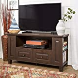 """Walker Edison Wood Universal Stand with Storage Drawers for TV's up to 50"""" Flat Screen Living Room Entertainment Center, 44 Inch, Traditional Brown"""