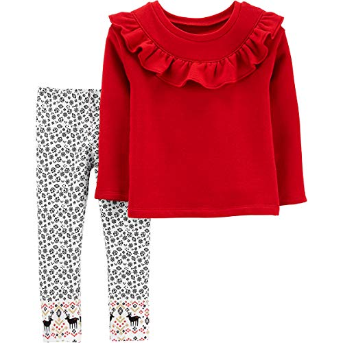 Carter's Toddler Reindeer Ruffle 2-Piece Leggings Set Outfit - Red/White/Multi - red - 3 Months