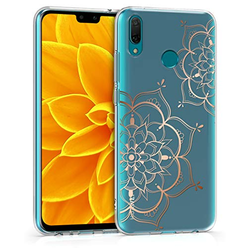 kwmobile TPU Case Compatible with Huawei Y9 (2019) - Soft Crystal Clear IMD Design Back Phone Cover - Flower Twins Rose Gold/Transparent
