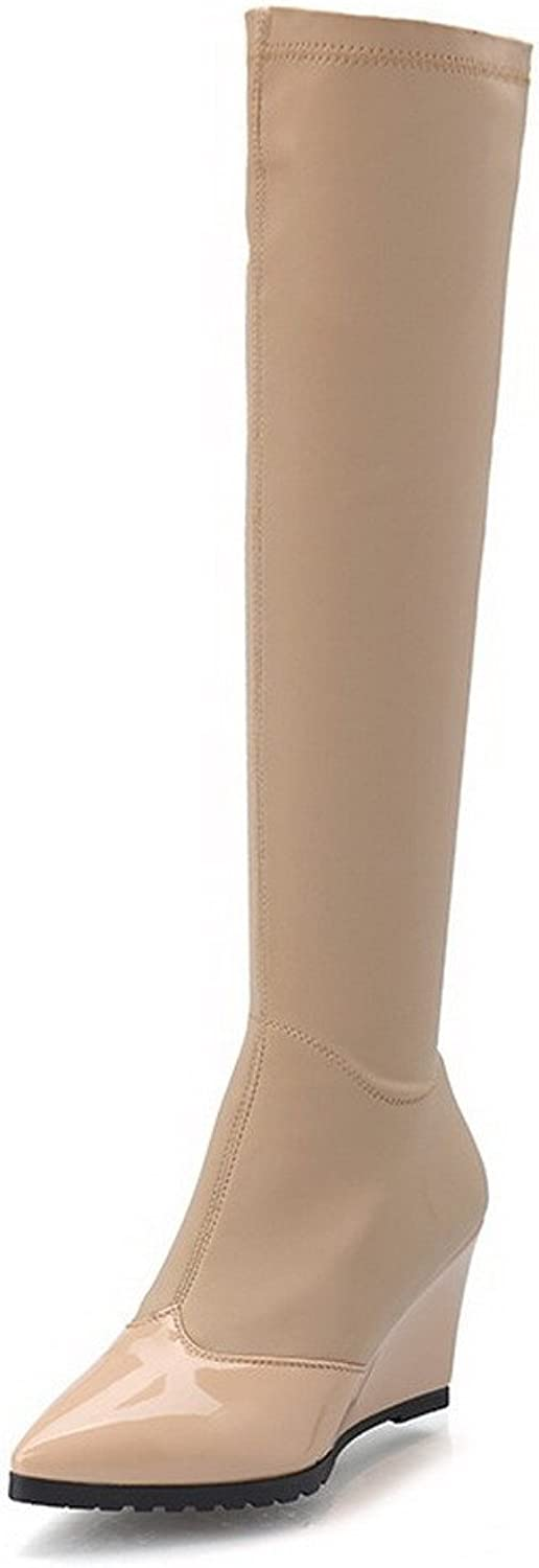 WeiPoot Women's Solid Closed-Toe Boots with Zippers and Winkle Pinker