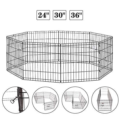 Idealchoiceproduct Zusammenklappbarer Käfig Draht Hund Exercise Pen Haustier Zaun Yard Zaun 8Panel Laufstall Haustier-24Zoll–42schwarz Farbe, 30 inch W/Door, schwarz