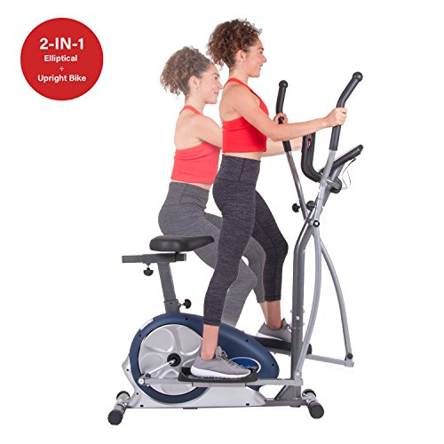 Body Champ Programmable Dual Trainer Machine Elliptical Trainer and Exercise Bike with Seat and Heart Rate Pulse Sensors BRM3171