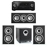 ELAC Uni-Fi 3.1 System with 2 ELAC UB5 Bookshelf Speakers, 1 UC5 Center Speaker, 1 ELAC Debut S10 Powered Subwoofer, 1 Pioneer VSX-LX102 A/V Receiver